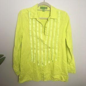 Island Republic neon yellow linen top